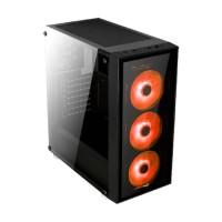 Aerocool Quartz Red Mid Tower Kasa Siyah